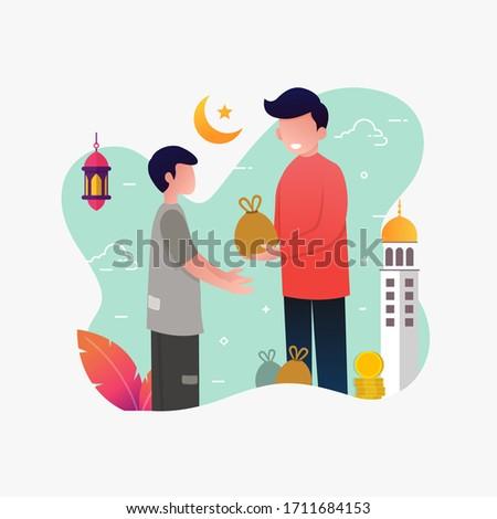 a man giving sadaqa to poor people flat vector cartoon illustration ramadhan kareem