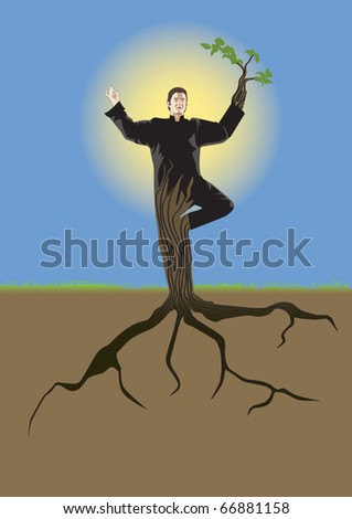 a man has roots and a tree is growing through his body