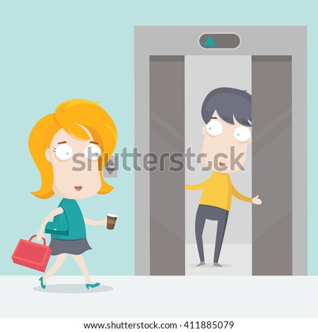 a man holding the elevator for