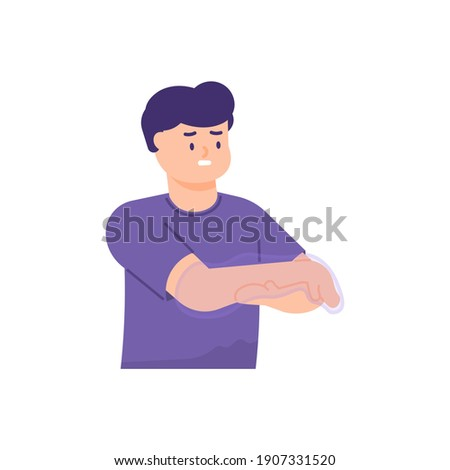 a man holds his hand because he feels tingling or paresthesia, weakness, numbness, like being pricked by a needle. the expressions on people's faces. flat style. vector design element