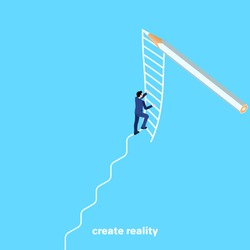 a man in a business suit climbs a ladder drawn with a pencil, an isometric image