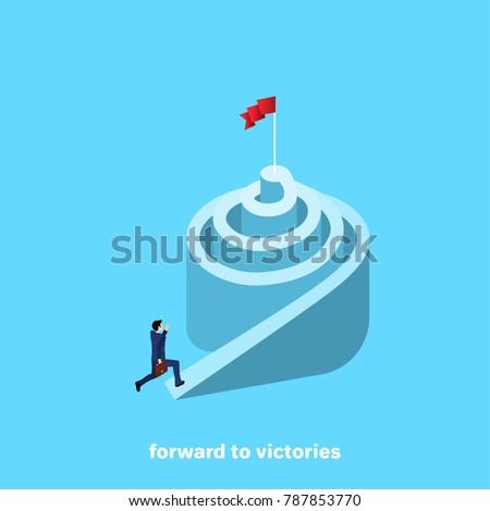 a man in a business suit is running up a spiral, an isometric image