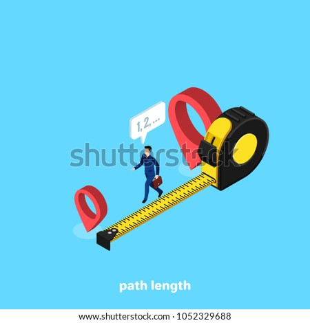 a man in a business suit measures the distance between two points, an isometric image