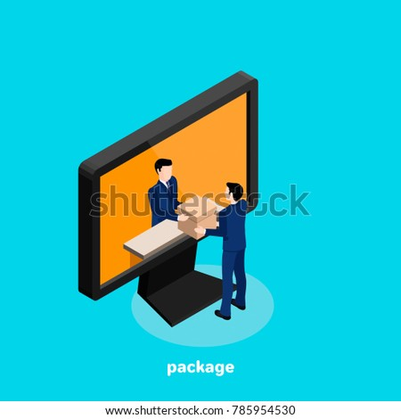 a man in a business suit receives a parcel through the Internet, an isometric image