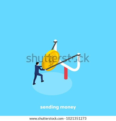 a man in a business suit sends money with a slingshot, an isometric image
