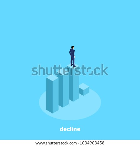 a man in a business suit stands on the diagram before the decline, isometric image