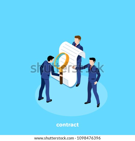 a man in a business suit studies the contract offered to him, an isometric image