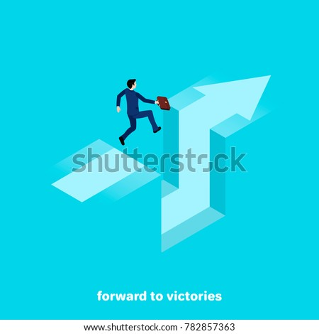 a man in a business suit with a briefcase in his hand jumps over a cliff, isometric image