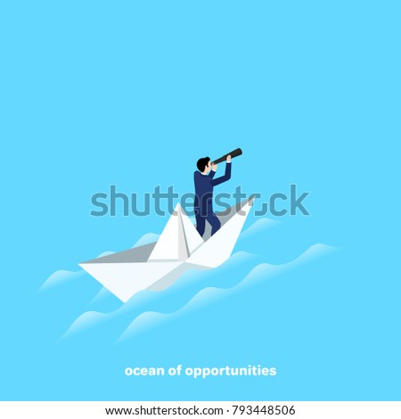 a man in a business suit with a telescope sails on a paper boat, an isometric image