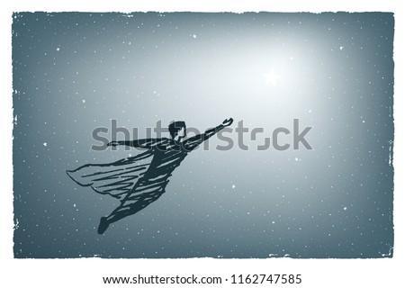 a man in a cloak flies at night