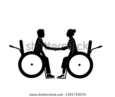 a man in a wheelchair holds the hand of a woman in a chair. yearning for life and relationships. romantic relationship and support. vector illustration.