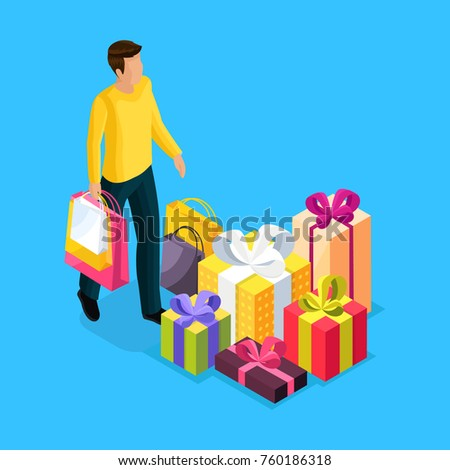 A man in an isometry carries packages with purchases for the holiday. Holiday discounts, shopping. Gifts for loved ones in bright packages with bows. Discounts at the store, holiday shopping.