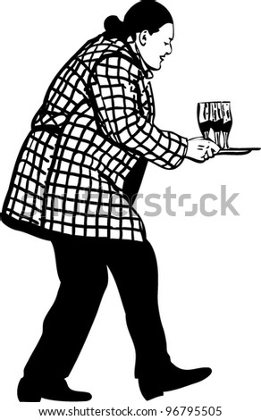 a man in an overcoat carries three glasses with wine