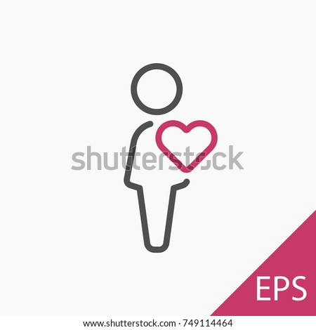 A man in love icon on white background. Vector illustration #749114464