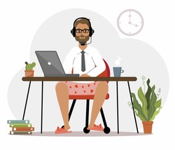 A man in underpants and slippers, a programmer works at home at a computer, a laptop. Remote work in the home office. IT specialist, freelancer, student. Colorful vector illustration in flat cartoon