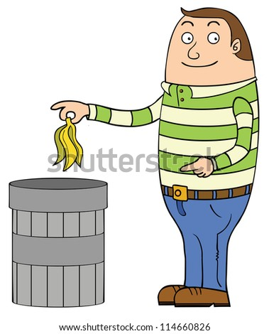 a man is about putting away a banana skin into a trash can.