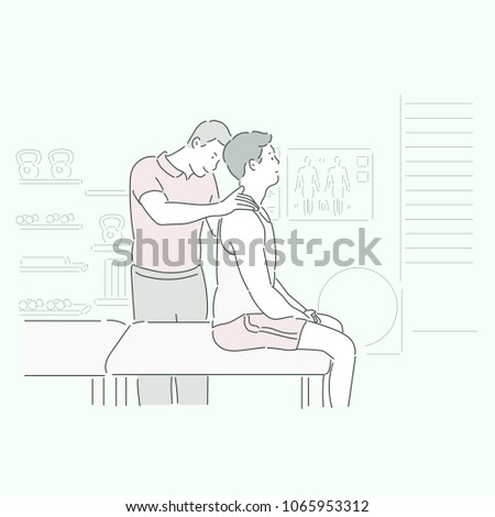 A man is correcting his right posture at the rehabilitation center. hand drawn style vector doodle design illustrations.