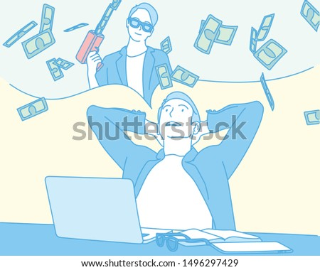 A man is imagining becoming rich.  hand drawn style vector design illustrations.