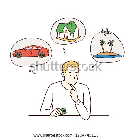 A man is in trouble to decide what to do. hand drawn style vector design illustrations.