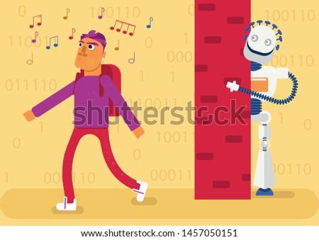 a man is listening a music