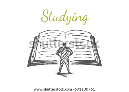 A man is reading a large book. Vector business concept illustration. Flat hand drawn sketch. Lettering studying.