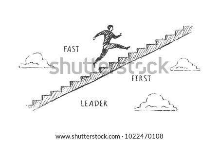 a man is running up the stairs