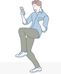 A man is very happy when he reading messages on mobile phone. Hand drawn in thin line style, vector illustrations.