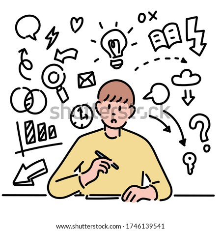 A man is writing something at the desk. Line icon doodles are decorated around the man. hand drawn style vector design illustrations.