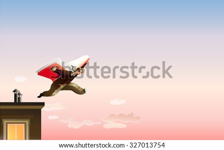 a man jumps off the roof using