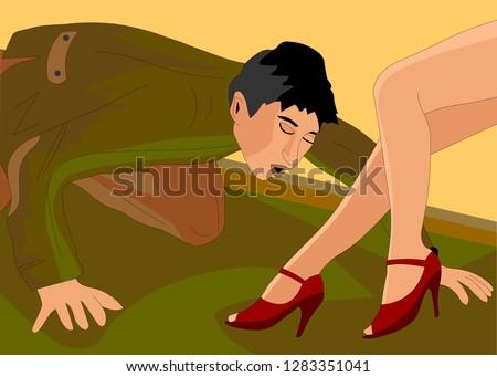 a man kisses woman's feet