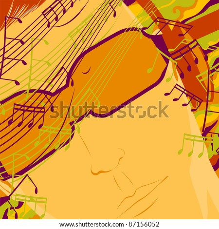 A man listens to music on headphones. Abstraction with notes.