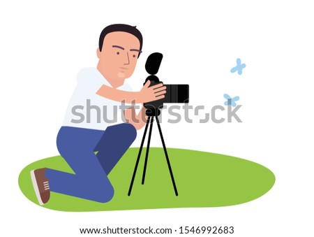 A man photographs butterflies on a professional photo camera. Vector illustration.