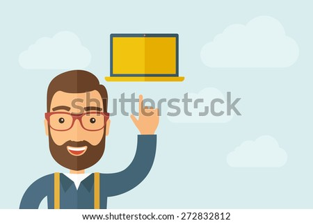 a man pointing the monitor icon