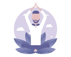 A man prays to God. Spiritual Practice. Vector illustration for telework, remote working and freelancing, business, start up, social media and blog