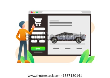 A Man Pre Orders Or Buys Tesla Cyber Trucks Online Through The Website. Cyber Truck Vector. Futuristic And Modern Autonomous Self Driving Car Truck Illustration Background.