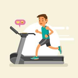 a man running on a treadmill. vector illustration