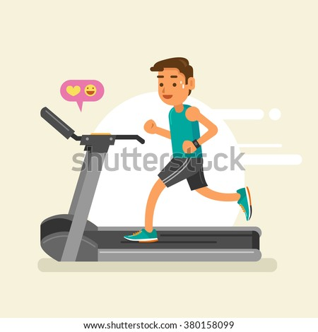 a man running on a treadmill. vector illustration