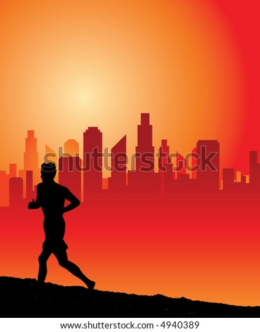a man runs uphill at dawn with a city skyline as background