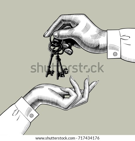 A man's hand gives the keys to a woman's hand. Vintage engraving stylized drawing. Vector illustration