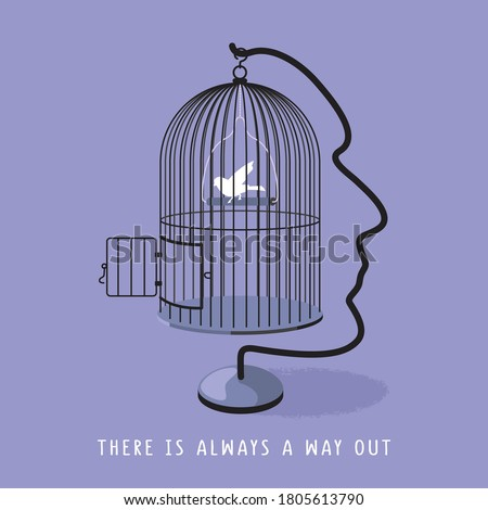 A man's profile forms a holder and hook for bird's cage. A white bird sees an opened door and ready to fly out. There is always a way out concept. Vector illustration and photo image available. Foto stock ©