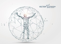 A man sealed in a sphere,Lines connected to Science fiction scene.
