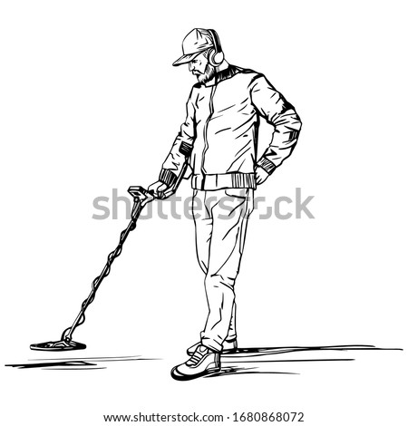 A man searches for treasures with a metal detector. A vector sketch drawn by hand against a white background. Stockfoto ©