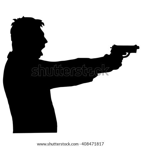 a man shoots a gun