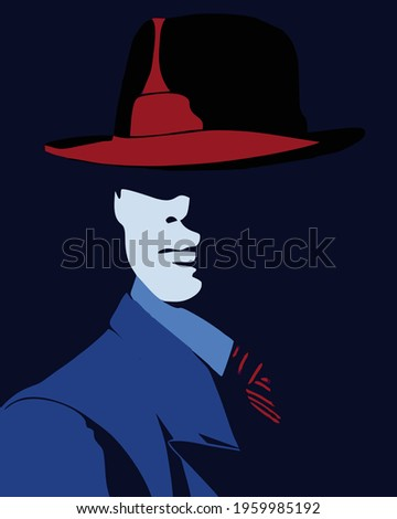 a man silhouette with red fedora hat and in blue suit, colorful illustration vector art Stock photo ©