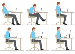 A man sits down and works at a laptop. posture.