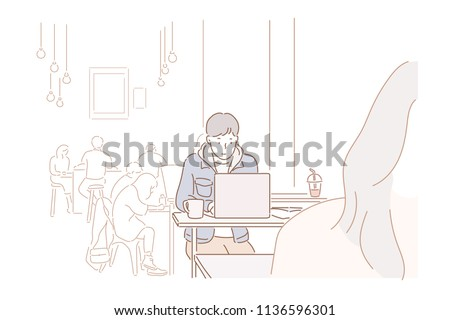 A man sitting at a cafe working on a laptop. hand drawn style vector design illustrations.