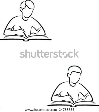 A man sitting at a desk writing and studying.