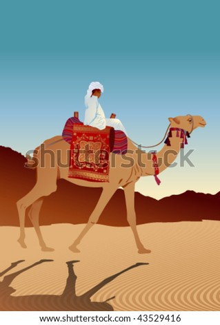 man sitting on a camel in the desert on a background mountains on a ...