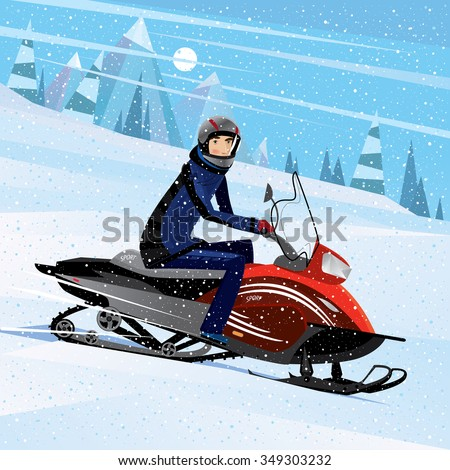A man sitting on a snowmobile and looking at us - challenge concept. Vector illustration Stock photo ©