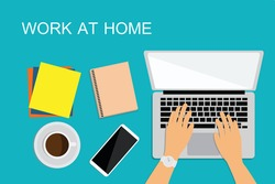 A man sitting with a laptop on the floor and office . Concept of working at home. Work wherever you want in comfortable conditions. Creating ideas. Freelance. top view